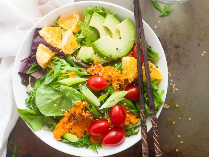 Japanse salade met een gemberdressing
