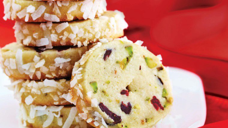 Kokoskoekjes met cranberry en pistachenoten