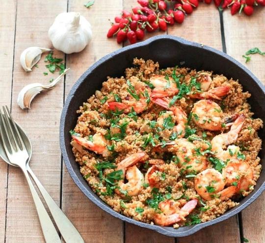 Lookboter garnalen met quinoa