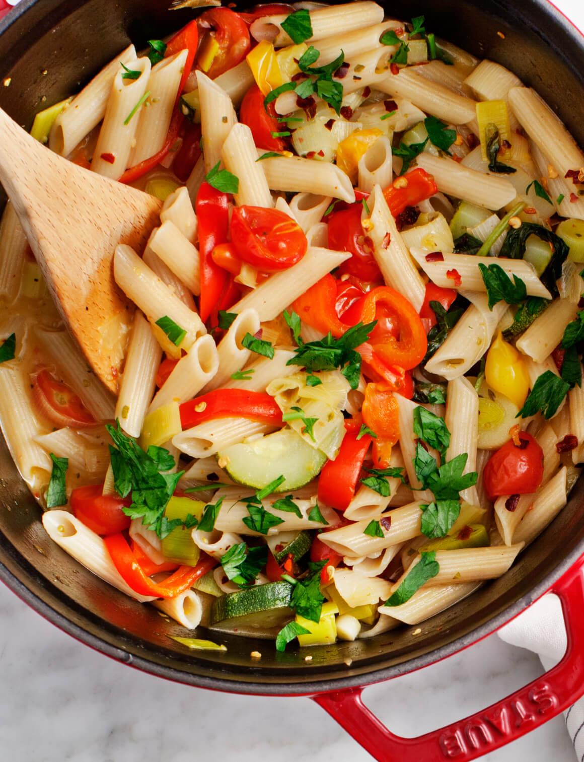 Vegetarische penne pasta