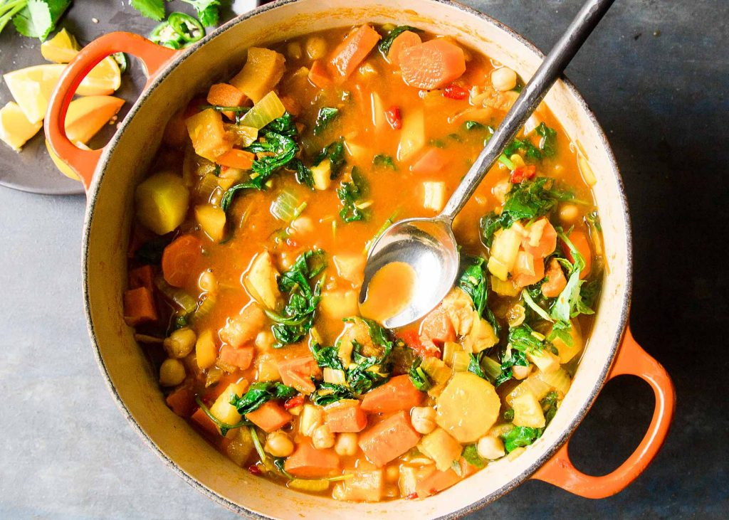 Zoete aardappelstoofpot