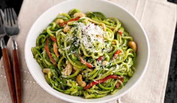 Courgette Spaghetti Met Spinaziepesto