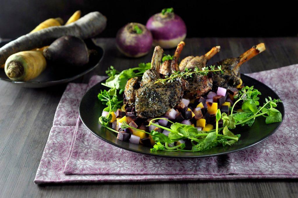 Lamsvlees met vergeten groenten