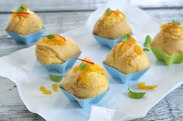 Pittige mango - sinaasappelmuffins