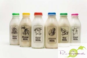 "LOS ANGELES, CA-- OCTOBER 15, 2009-- A variety of ""milks"" and dairy substitutes are photographed in the L.A. Times studio, including, from left; rice milk, hemp milk, cow milk, soy milk, almond milk and goat milk, Oct. 15, 2009. (Jay L. Clendenin/Los Angeles Times)"