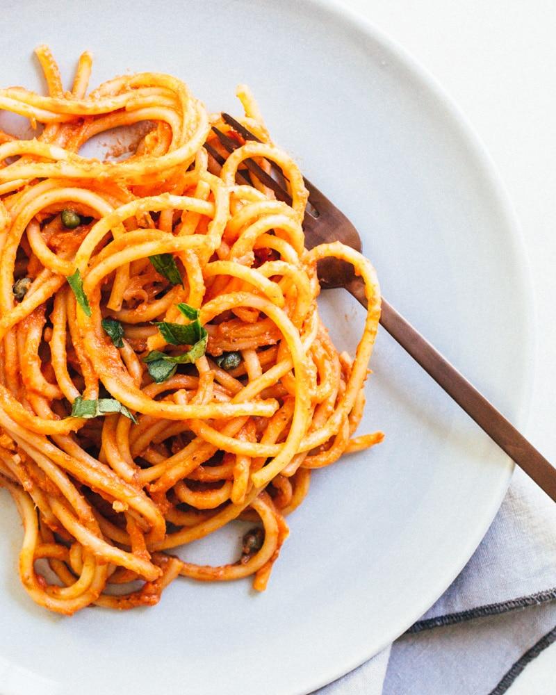 Spaghetti met romige tomatensaus