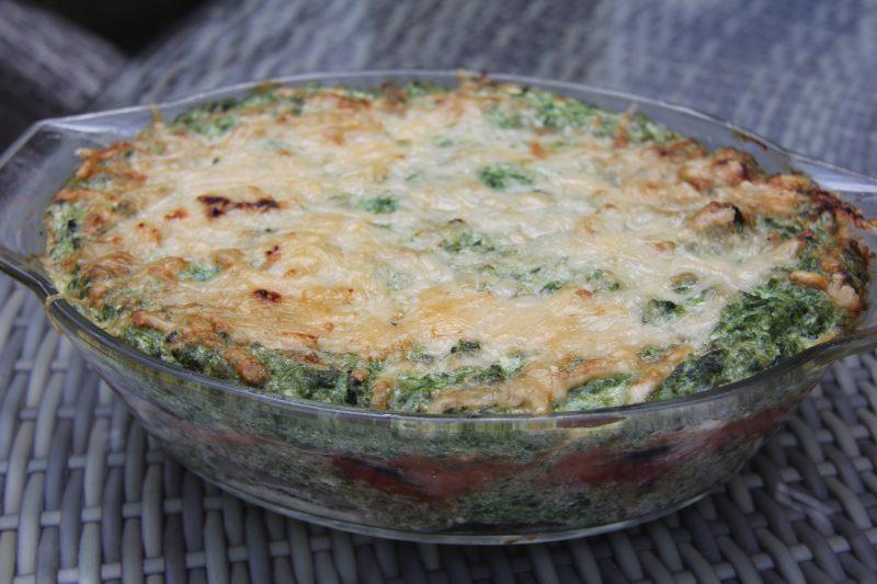 Spinazie - aubergine lasagne
