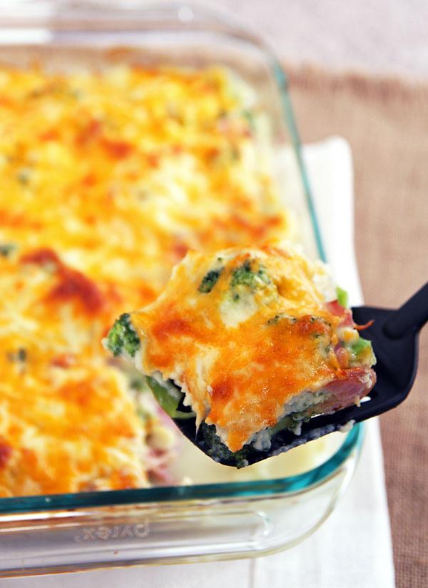 Bloemkool - broccoli casserole met ham