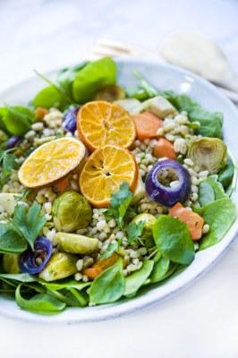Tarweslaatje met geroosterde groenten