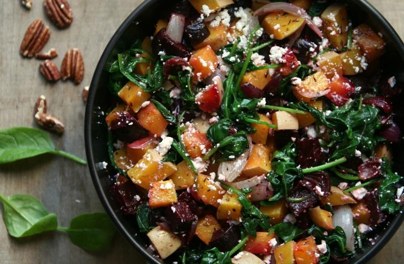 Balsamicobietjes,pompoen en spinazie uit de oven