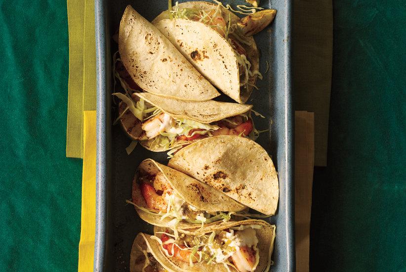 Tacos met gegrilde scampi's