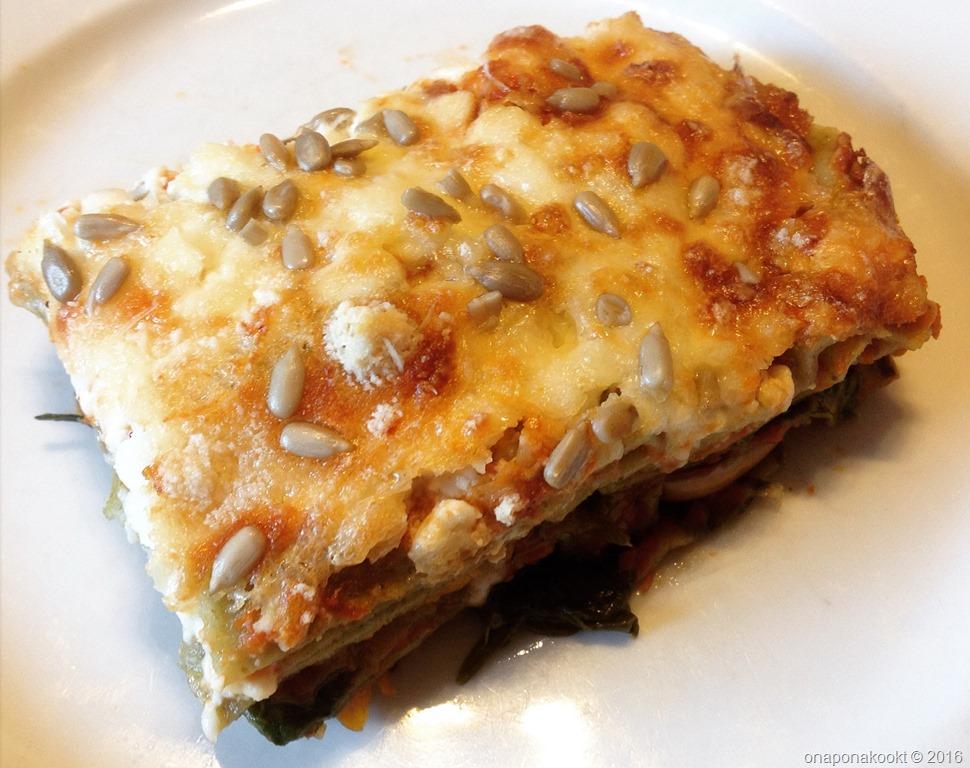 Lasagne met pompoen, spinazie en Hüttenkäse