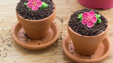 Gevulde bloempotjes met chocolade en Oreocrumble