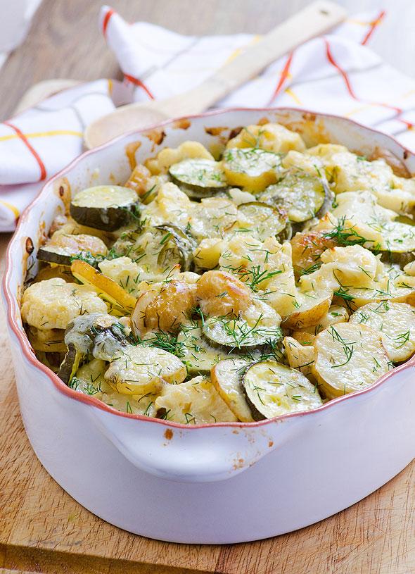 Ovenschotel met aardappel en courgette
