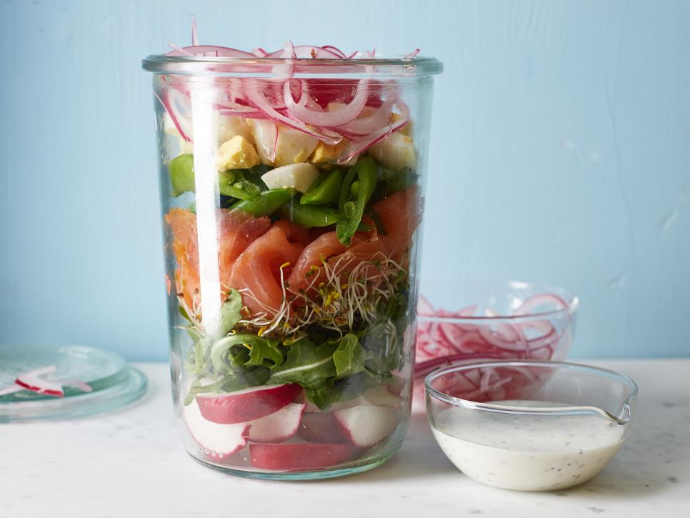 Gerookte Zalm in a salad-in-a jar
